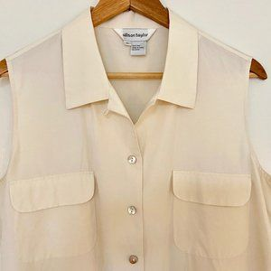Allison Taylor cream silk sleeveless button-down
